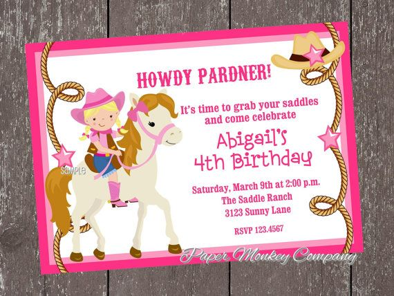 Blonde Cowgirl Birthday Invitations