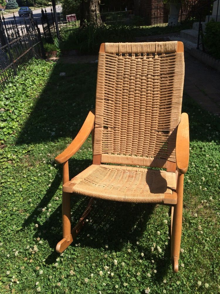 rope bottom chair swivel sale vintage mid century modern hans wegner rocking yugoslavia wood and sturdy rocker some wear on upper arm of seats seems