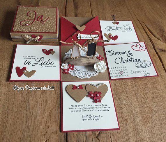 Geldgeschenk Explosionsbox Glückwunschkarte zur Hochzeit Brautpaar