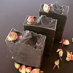 Black Rose Facial Soap #charcoal #tea tree #beauty #facial #organic #soap #soap diaries #handmade soap #Christmas