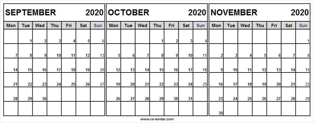 September to November 2020 Calendar Excel Worksheet