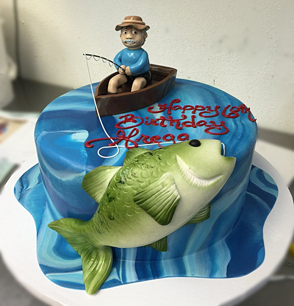 Gone Fishing Cake With Images Fish Cake Birthday Fisherman