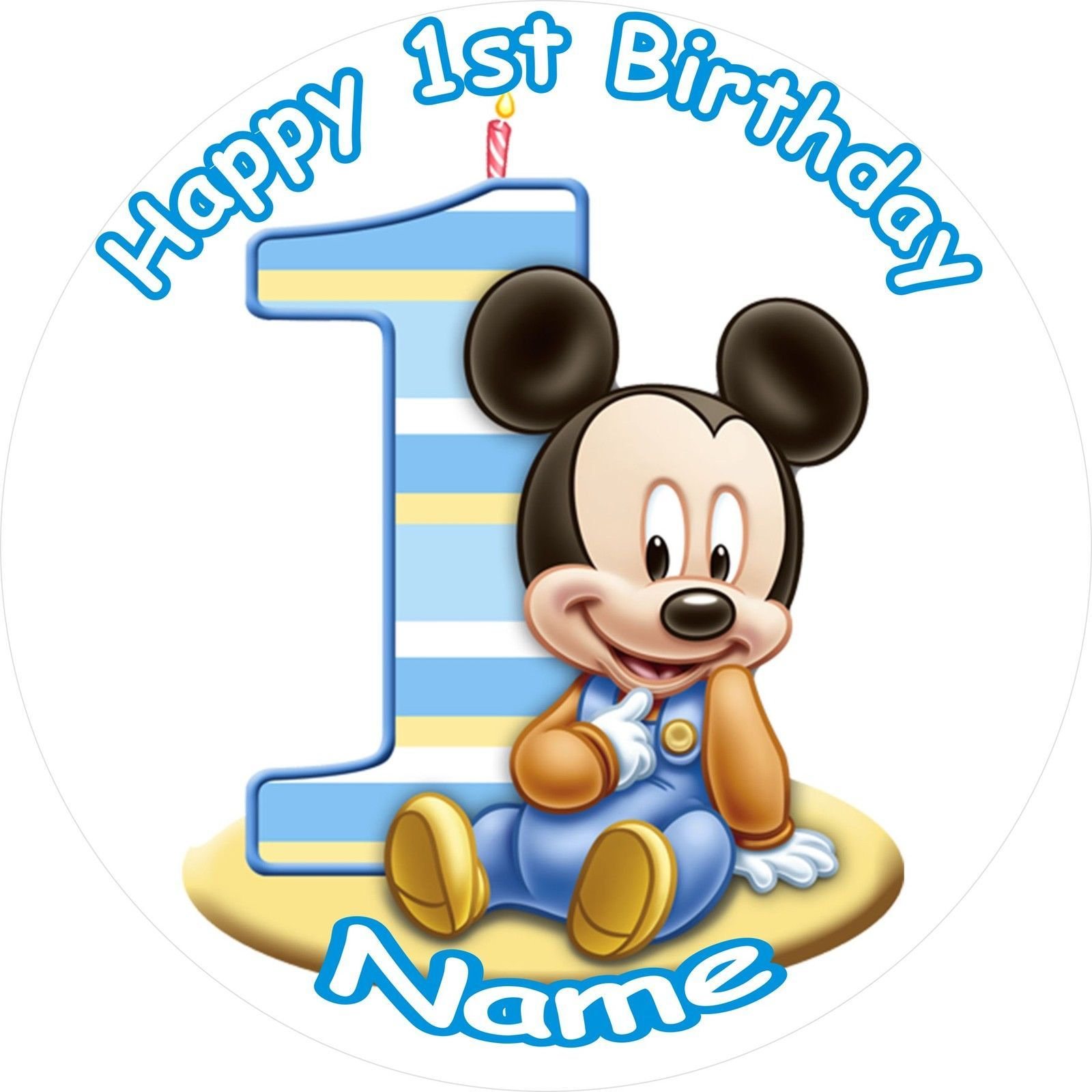 "Boy 1St Birthday Baby Mickey Round 7.5"" Cake Topper Icing"