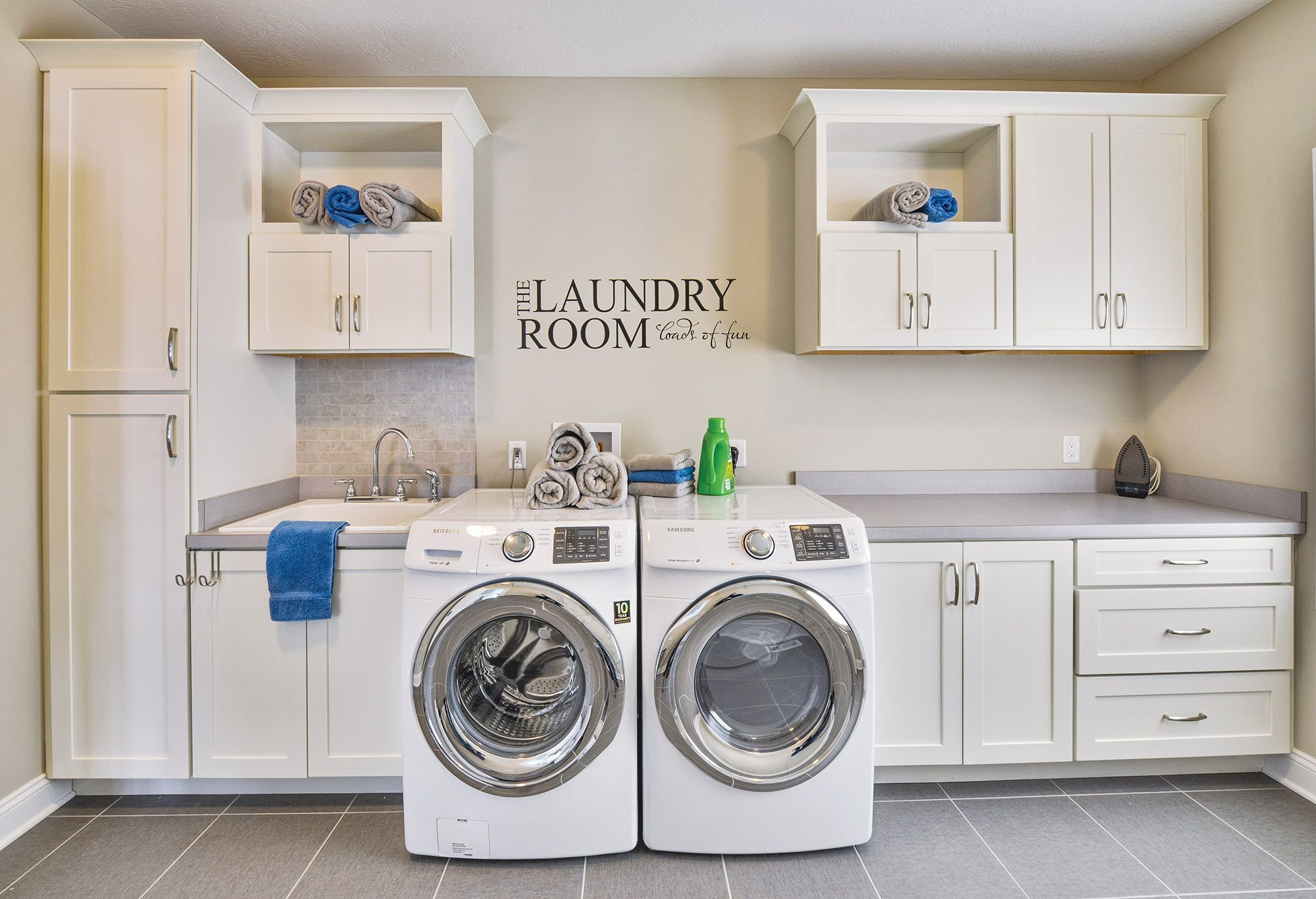 Laundry Room Remodel Featuring White Shaker Cabinets Laundry Room Remodel Laundry Room Cabinets White Laundry Rooms