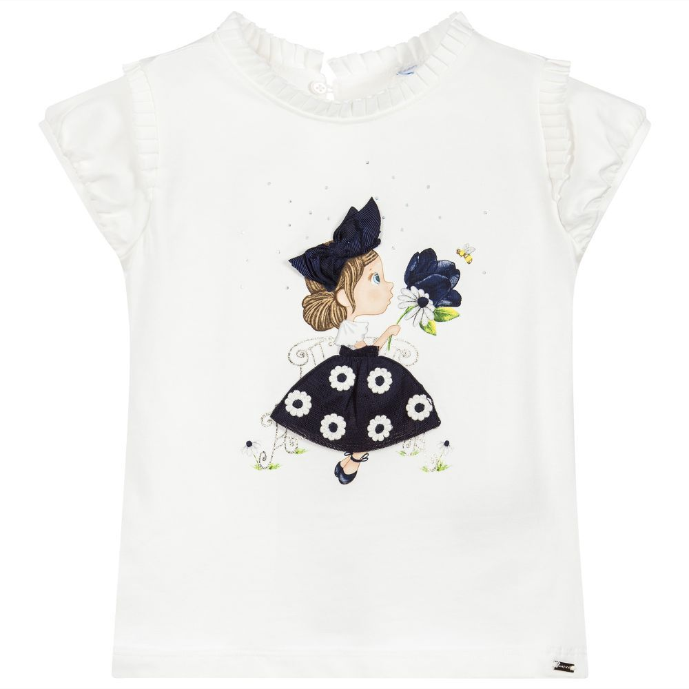 61cdddeca7e9 The latest news about kids fashion. Mayoral - Girls Ivory Cotton T-Shirt