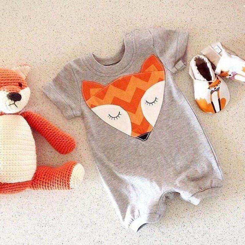 Newborn Baby Boy Cartoon Romper Bodysuit Jumpsuit Cute Fox Clothes Outfits