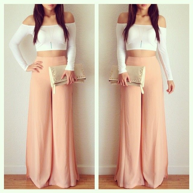 cf2b3f88c71a66 Peach pastel gaucho pants paired with a white crop. Love this look  Visit  our site for more fashion! www.dibwa.com  For the Classy Wild Child  ~ !
