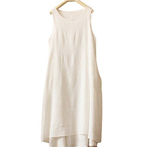 Women's Simple Solid Color Sleeveless Skirt Casual Long Vest Dress (White) Coxeer http://www.amazon.com/dp/B00SZV3U76/ref=cm_sw_r_pi_dp_x.hnvb0T791XQ