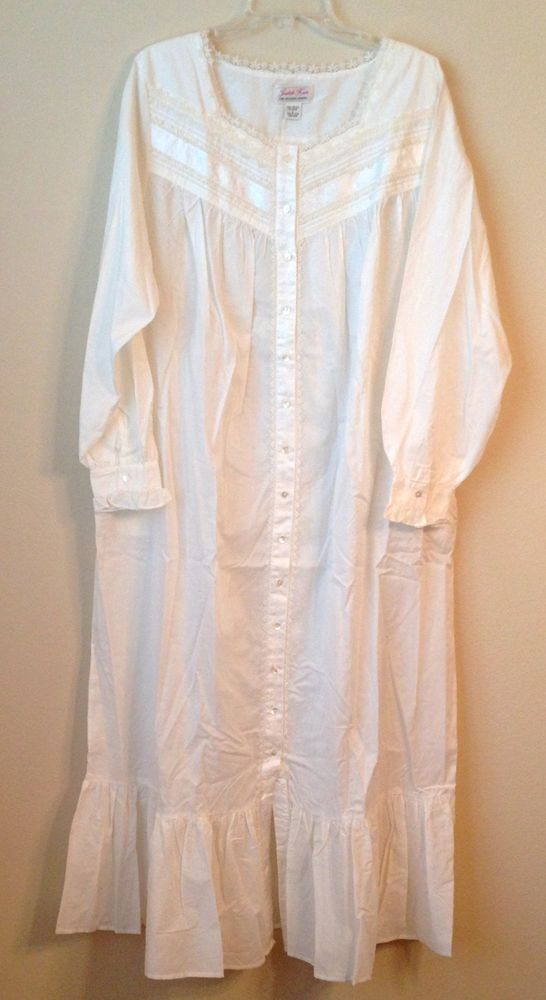 NWT JUDITH HART Womens Sz L Long Night Gown Cotton Long Sleeve ...