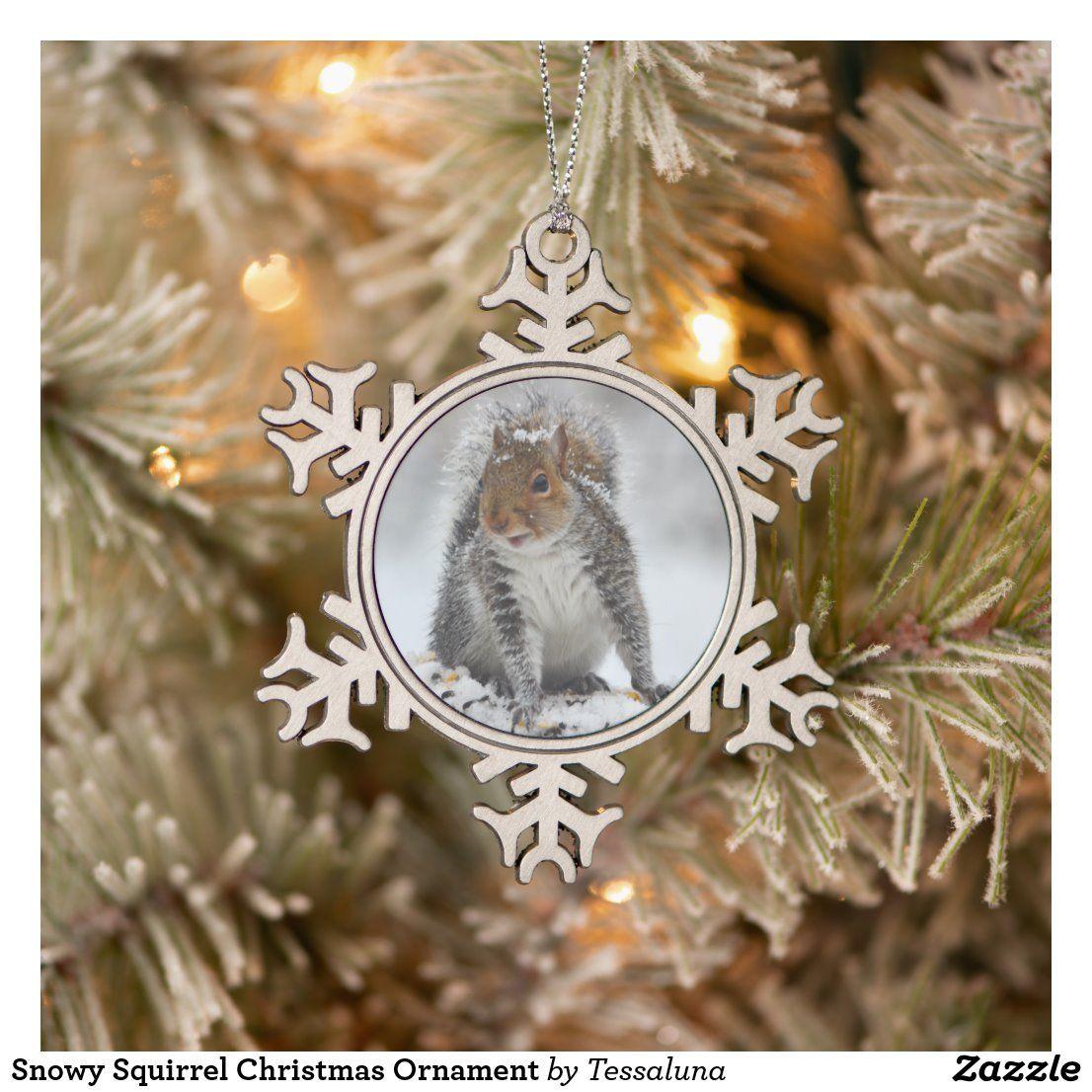 Snowy Squirrel Christmas Ornament Zazzle Com Christmas Ornaments Canada Christmas Personalized Christmas Ornaments