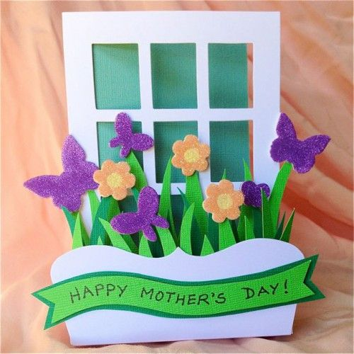 Mother's Day window box card with tutorial by Kelly Klapstein for Scrapbook Adhesives by 3L blog. With 3D Foam Garden shapes and Crafty Foam Tape, Crafty Power Tape.