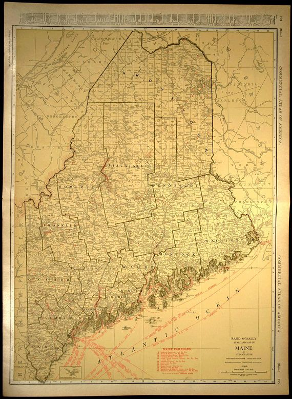 Maine Map EXTRA LARGE Maine Railroad Map Wall Art   Map Wall Decor ...