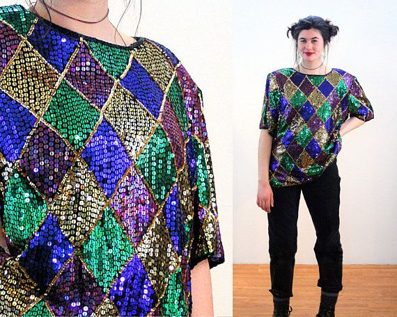 b274b76cc7b07f 80s Sequin Top XXL