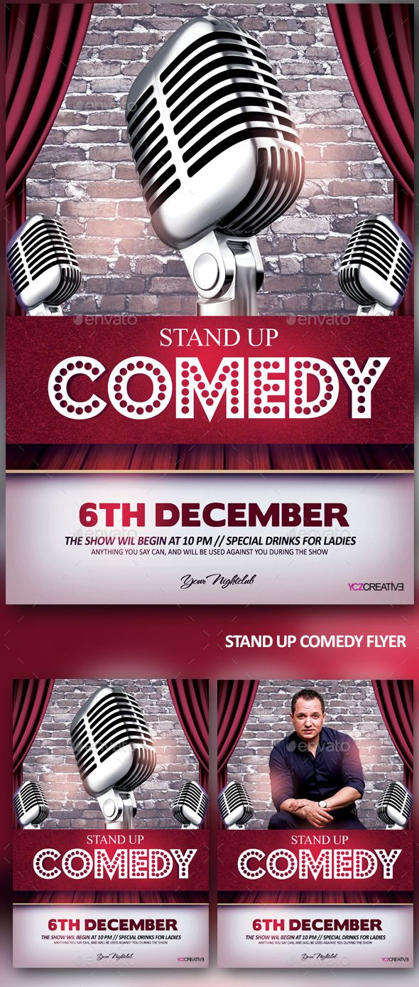 Comedy and Karaoke Party Flyer – Comedy Show Flyer Template