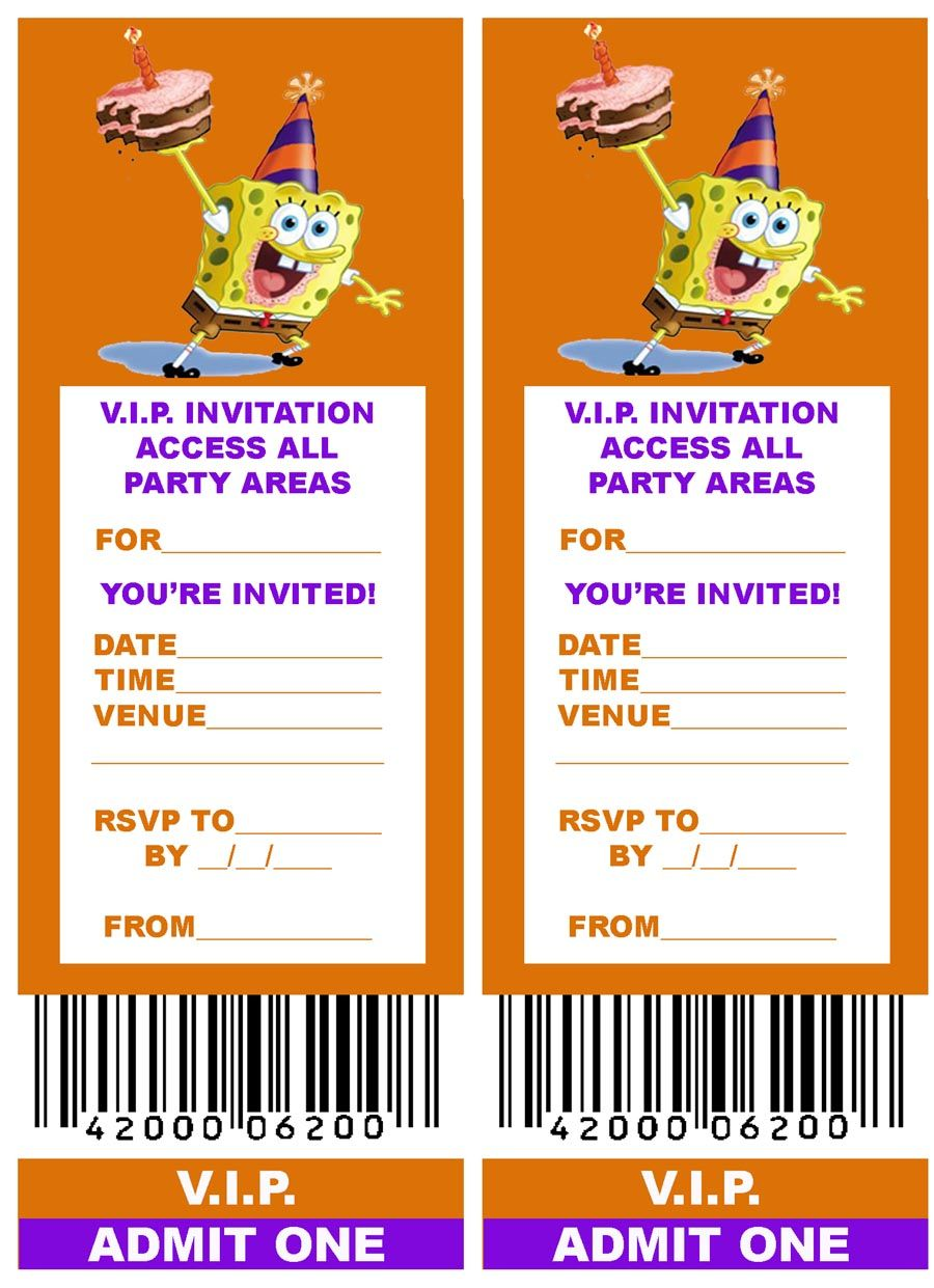 Lovely Free, Printable V.I.P. Ticket Style Spongebob Party Invitations Intended For Free Printable Ticket Style Invitations