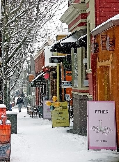 Snow On Nw 23rd Avenue Portland Travel Oregon Travel Favorite