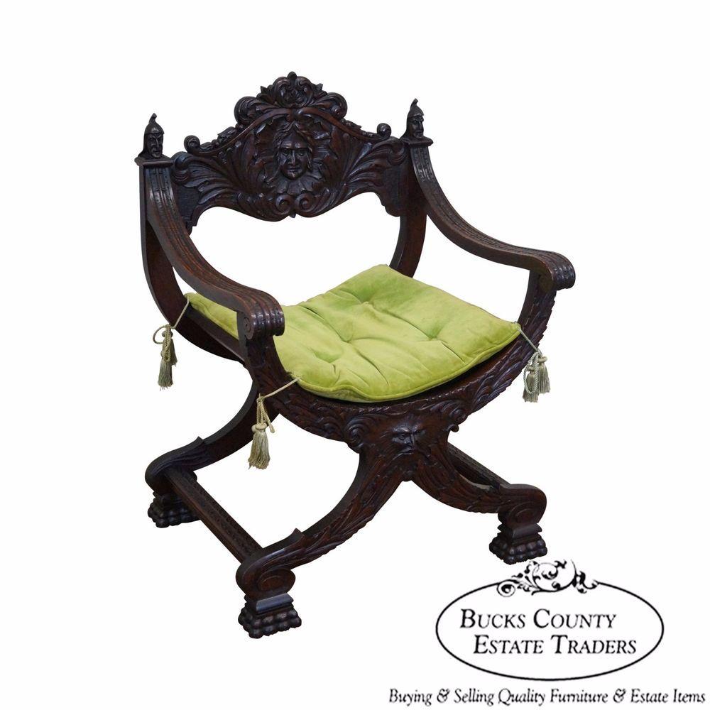 Antique 19th century oak renaissance style savonarola x
