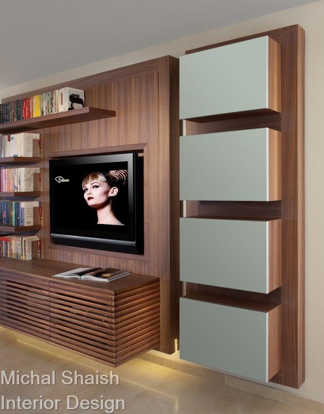 Attractive Walnut Furniture Tv Unit Library
