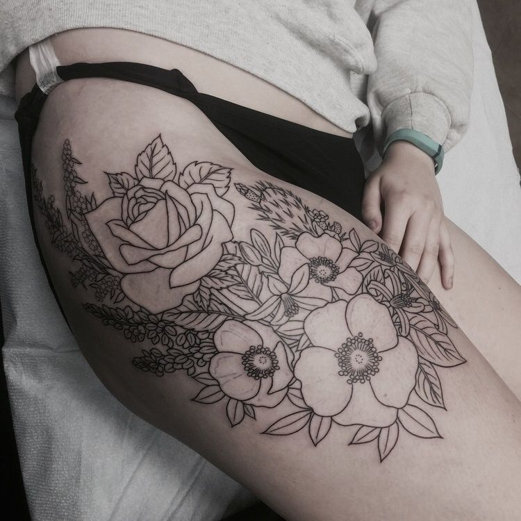 Pinterest •Linell• Floral thigh tattoos, Thigh tattoo