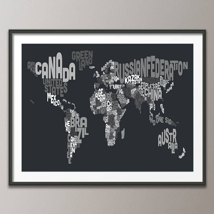 Typography world map text art print print poster and texts typography world map text art print gumiabroncs Images