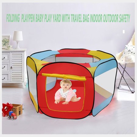 Indoor-Outdoor Folding Playpen Baby Kids Active Centre Play Yard With Travel Bag