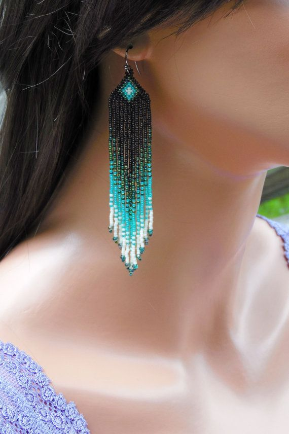 Long Seed Bead Earrings In Shades Of Green And Bone Fringe