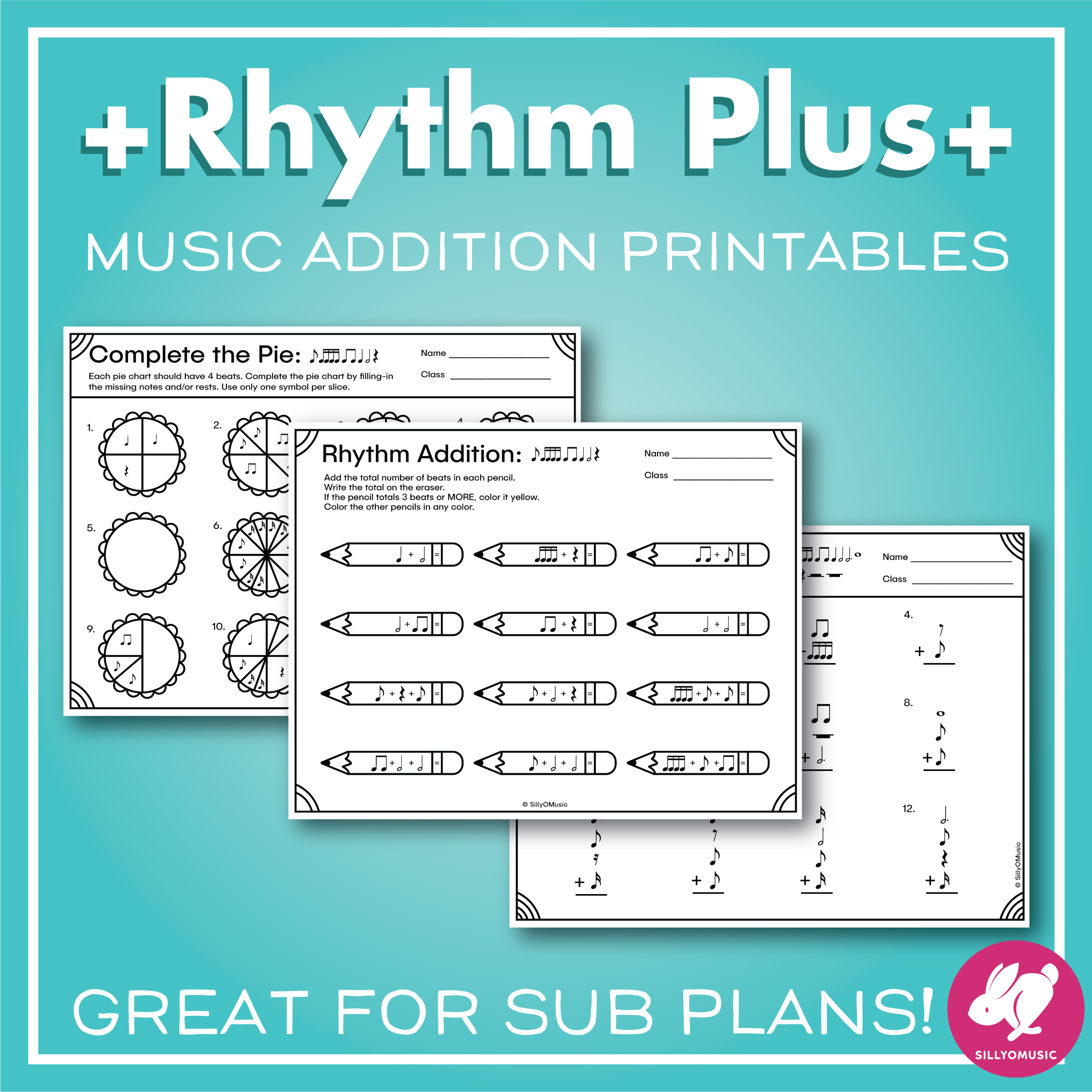 Rhythm Addition Music Math Worksheets From Sillyomusic
