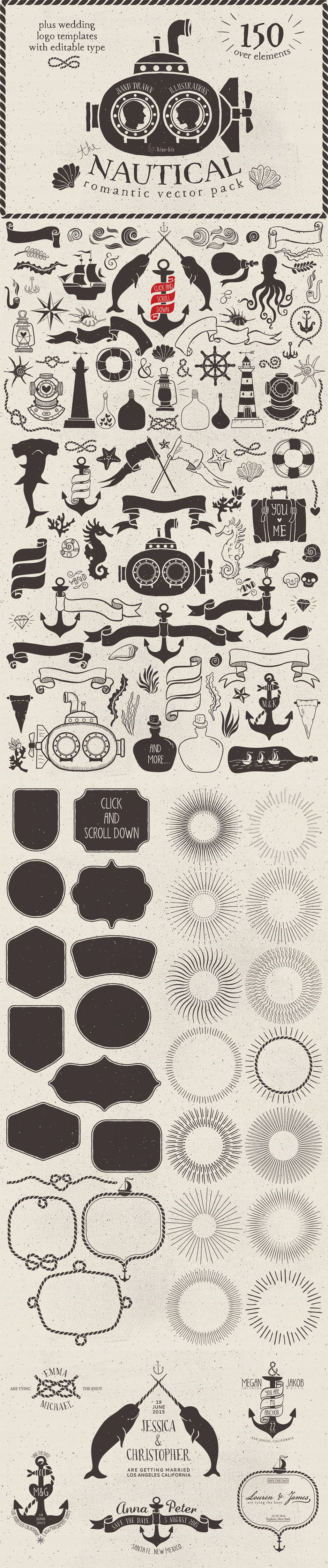 Nautical Romantic Vector Pack by Kite Kit | The Comprehensive, Creative Vectors…