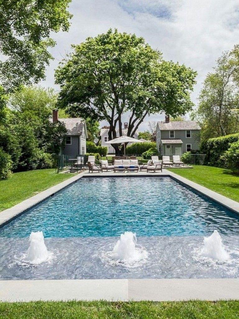 46 Amazing European Gardening Ideas With Swimming Pool Decoona Pool Landscaping Rectangular Swimming Pools Backyard Pool