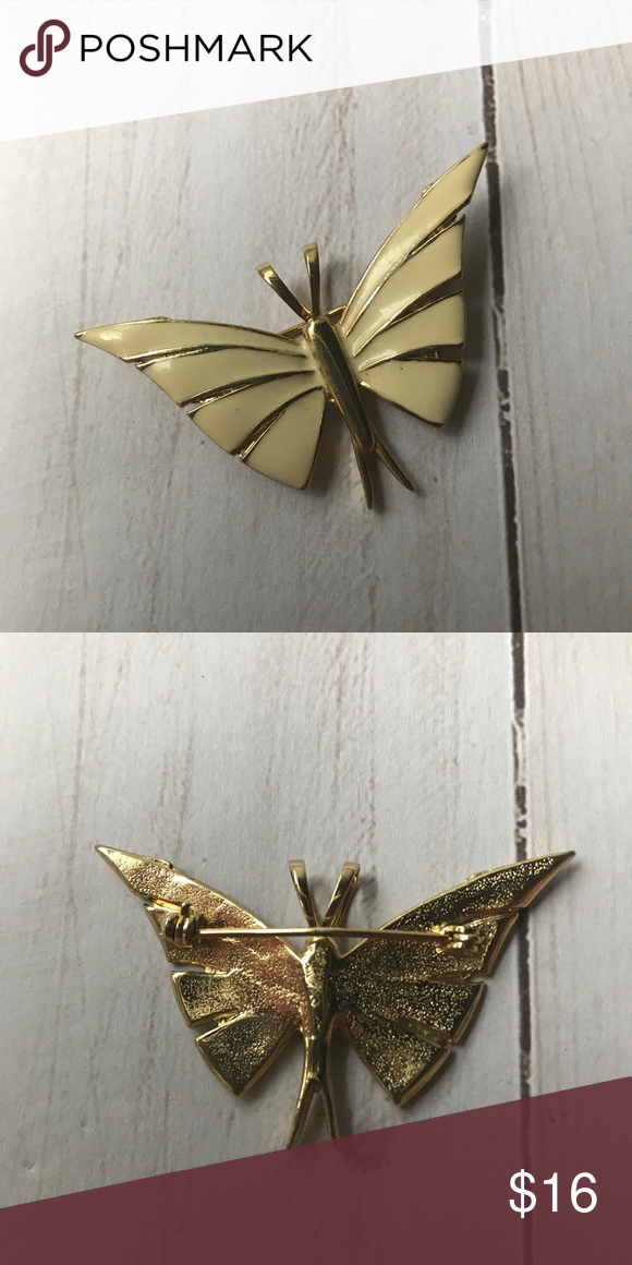 8d5db0adaa6cb Cream Enamel Butterfly Pin   Brooch Simple and lovely  ) Measures 2
