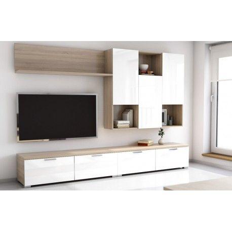 Conjunto de muebles para sal n modelo super zenith blanco - Modelos de muebles de salon ...