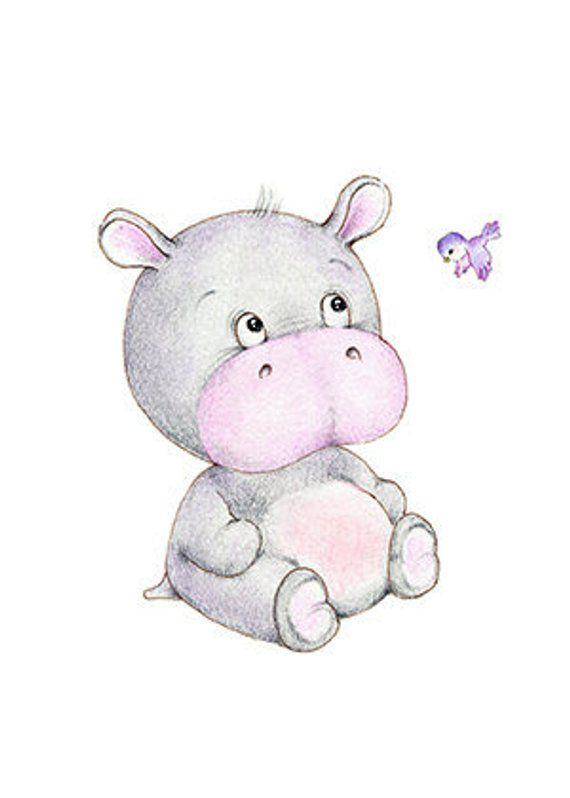 Baby Hippopotamus Nursery Art Print, Children Wall Decor, Kids Wall Art, Baby Room Wall Art, Animal Illustration, Children Art Print #babyhippo
