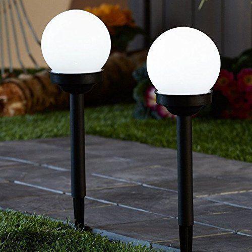 Pack of 2 solar powered globe ball light round white led garden lighting lantern