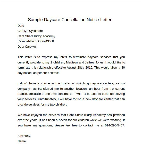 sample days notice letter free documents word pdf insurance - termination of contract letter