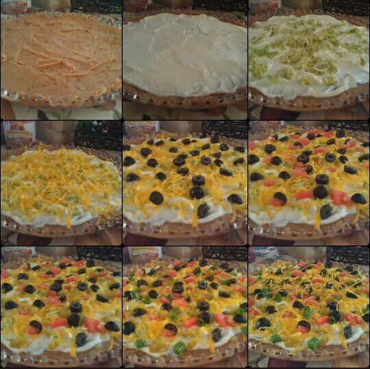 7 Layer Dip.  Beans, Sour Cream, Avocado, Cheese, Olives, Tomatoes, Jalapenos, Green Onions Optional.
