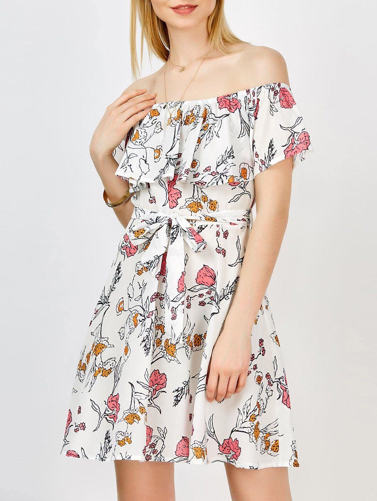 Casual Off The Shoulder Floral Summer Skater Dress Women Cheap Dresses Mini Dress Fashion Womens Printed Dresses [ 1596 x 1200 Pixel ]