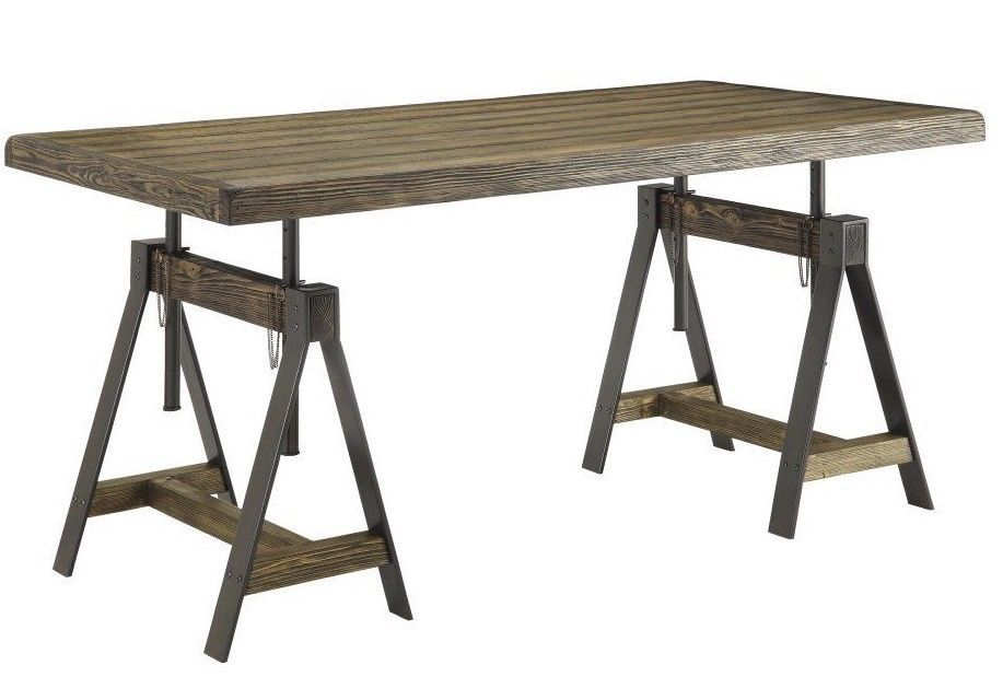 Industrial Sawhorse Desk Rustic Restoration Wood Writing Table Industrial Office Ebay Dining Furniture Makeover Adjustable Table Wood Writing Table