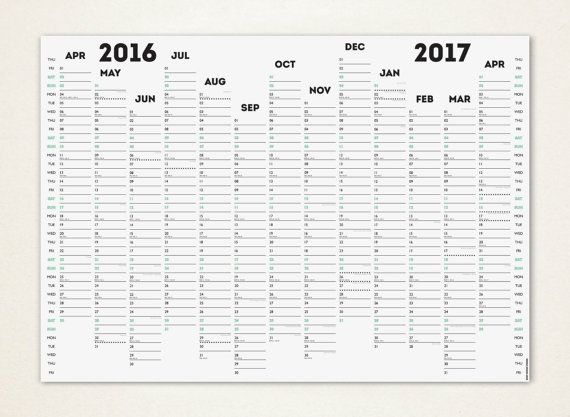 Fiscal  Uk Financial Wall Planner  Wall PlannerCalendar