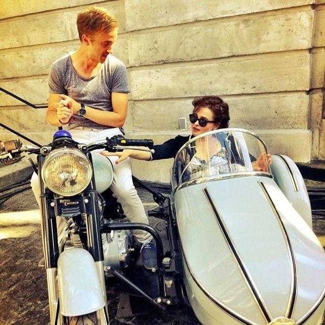 Helena Bonham Carter and Tom Felton taking aunty for a spin
