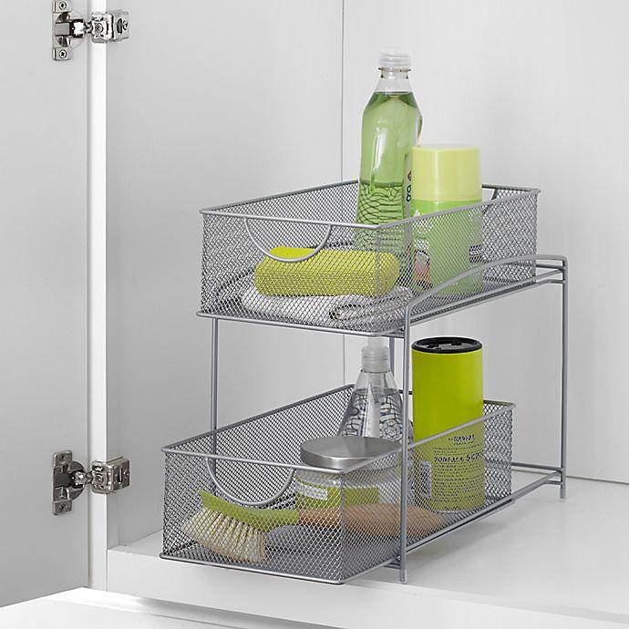 Org 2 Tier Mesh Sliding Cabinet Baskets In Silver In 2020 Bed Bath And Beyond Cabinet Organization Bath Storage