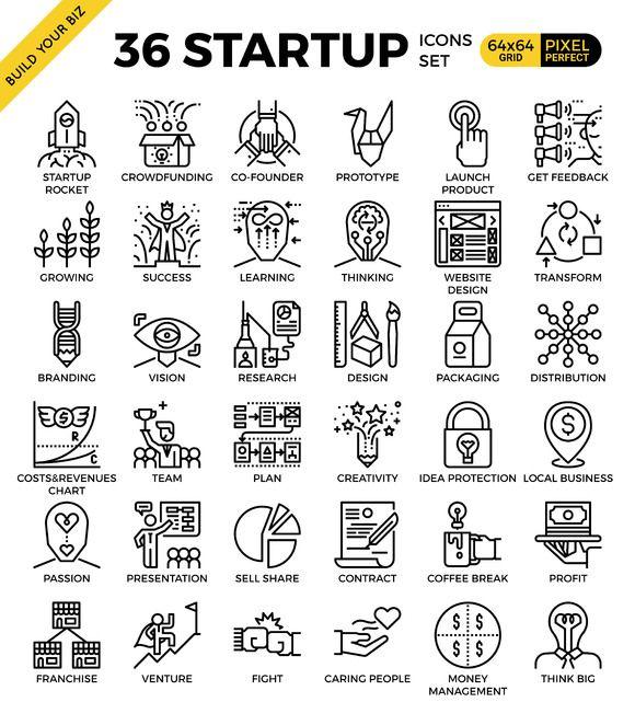 36 Startup Business Concept Icon Icon Set Web Design Icon Graphic Design Fun