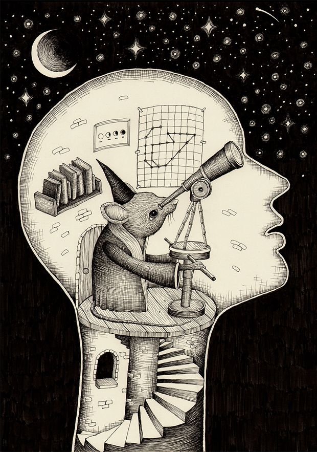 'Observatory' Pen & ink on paper (2013) by Alex G. Griffiths. an illustrator & designer from London, UK. ''With my work I try to capture a sense of sadness, nostalgia, & a distance from everyday life. My hand-drawn illustrations are created using ink on paper, & influenced by a love for the natural world, down-tempo electronica, & vintage book etchings.''