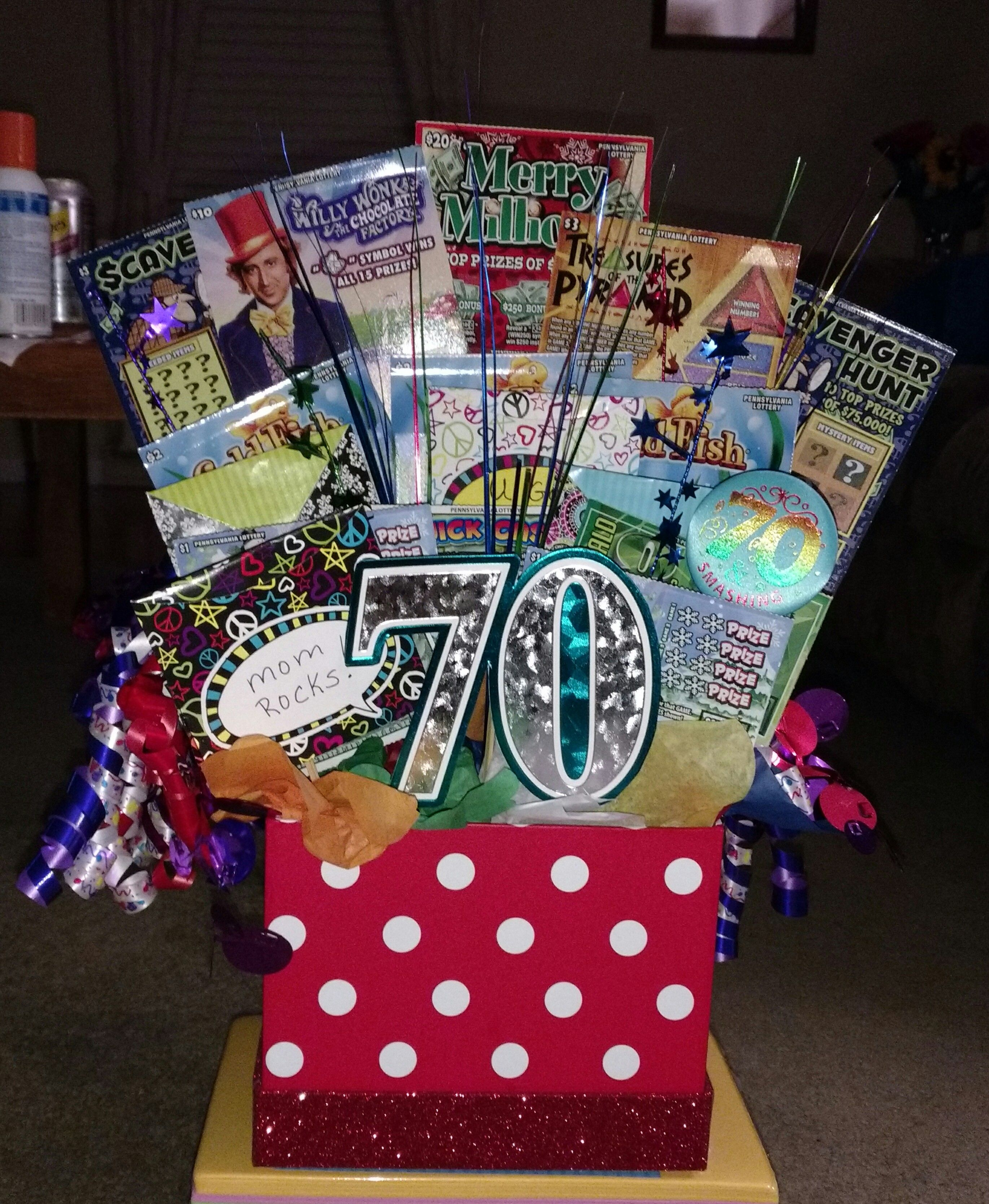 70th birthday gift idea made with scratchy tickets and