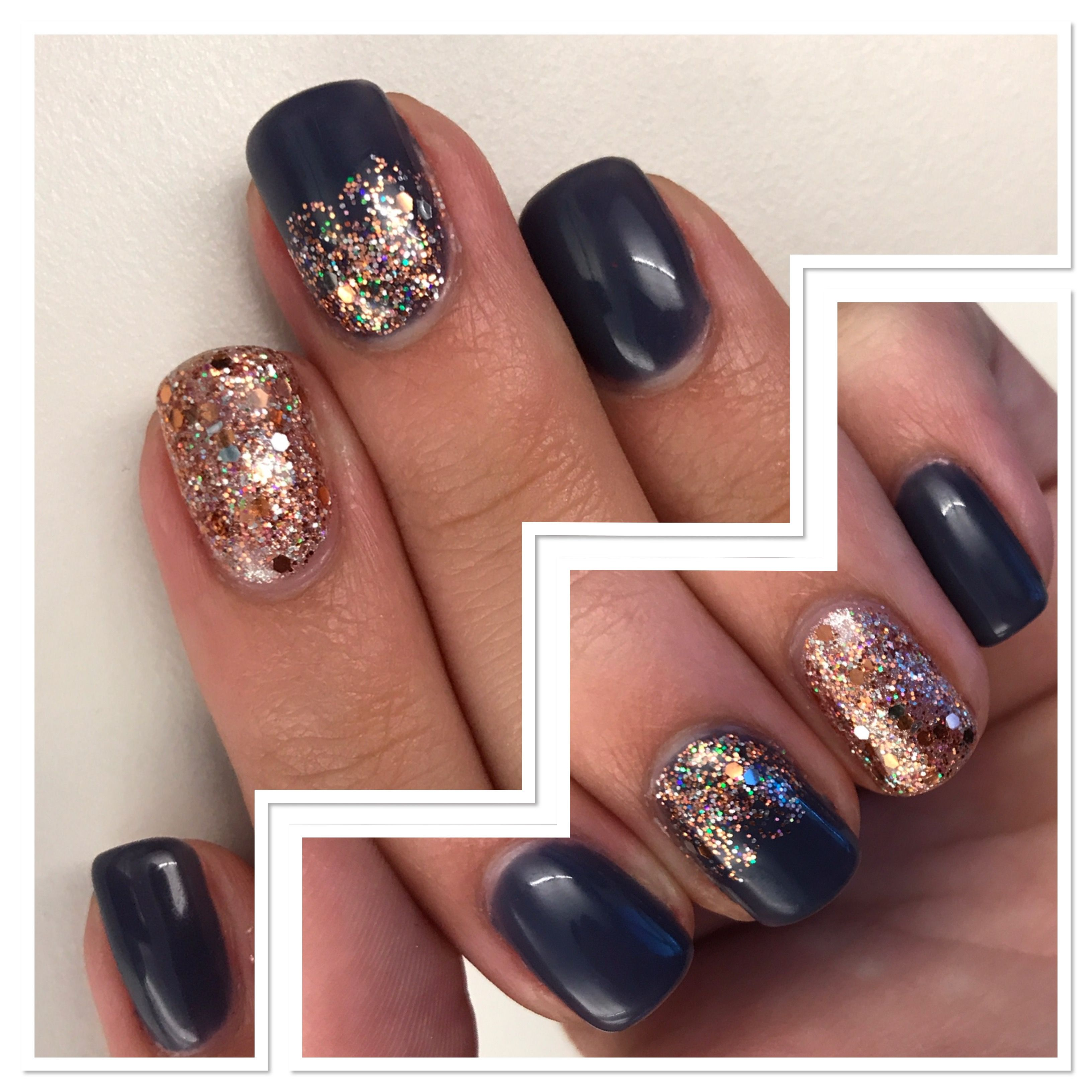 OPI Less is Norse & Rose Gold Glitter Fall Gel Nails | Gel Nail ...