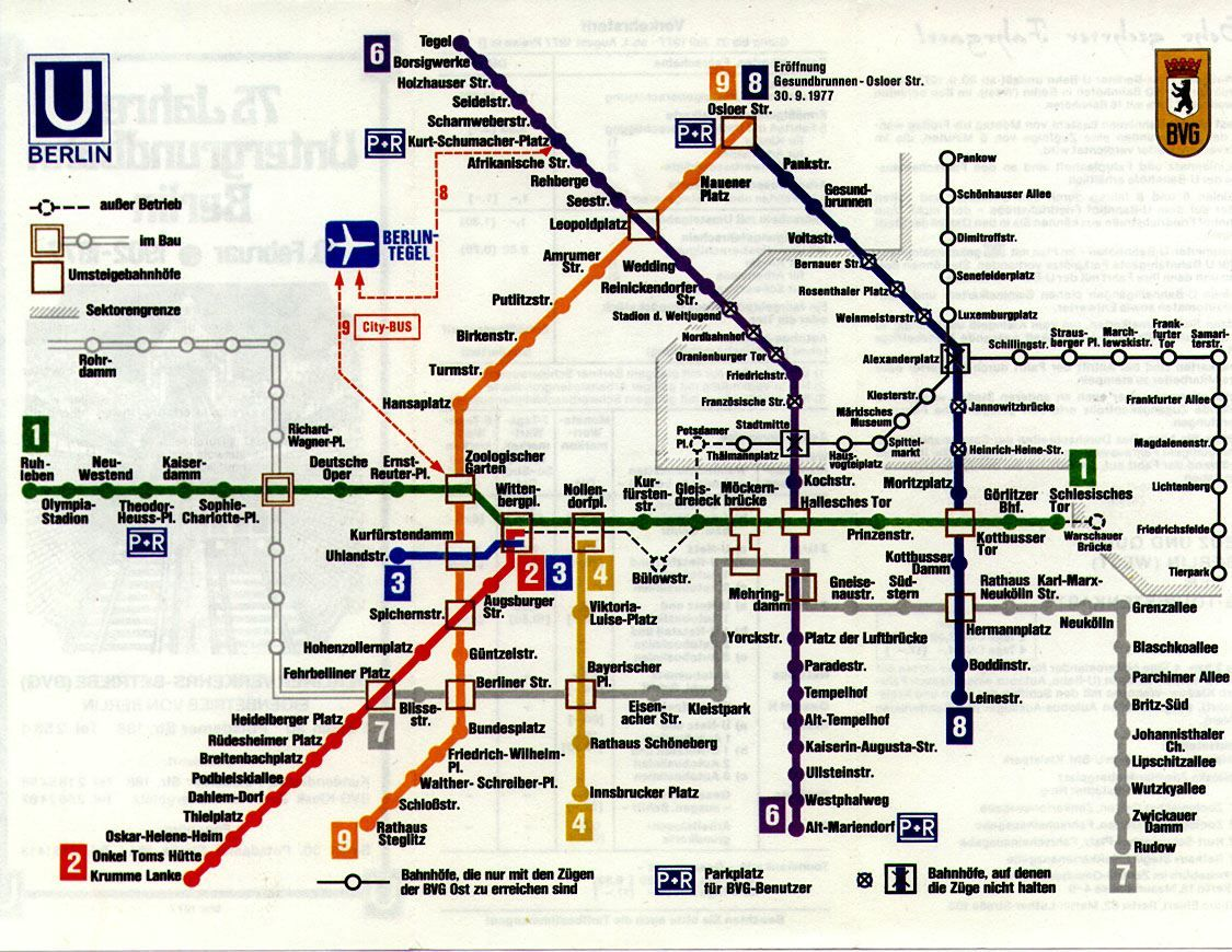 Historical Map West Berlin U Bahn Map 1977 Berlin s troubled post World