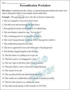 Figurative Language - Personification Worksheet | Figurative ...