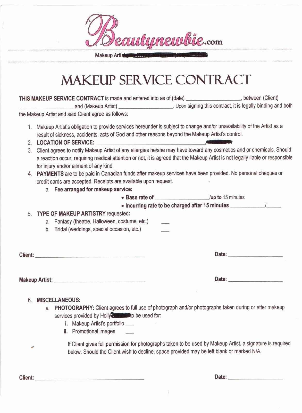 50 Unique Freelance Makeup Artist Contract Template In 2020