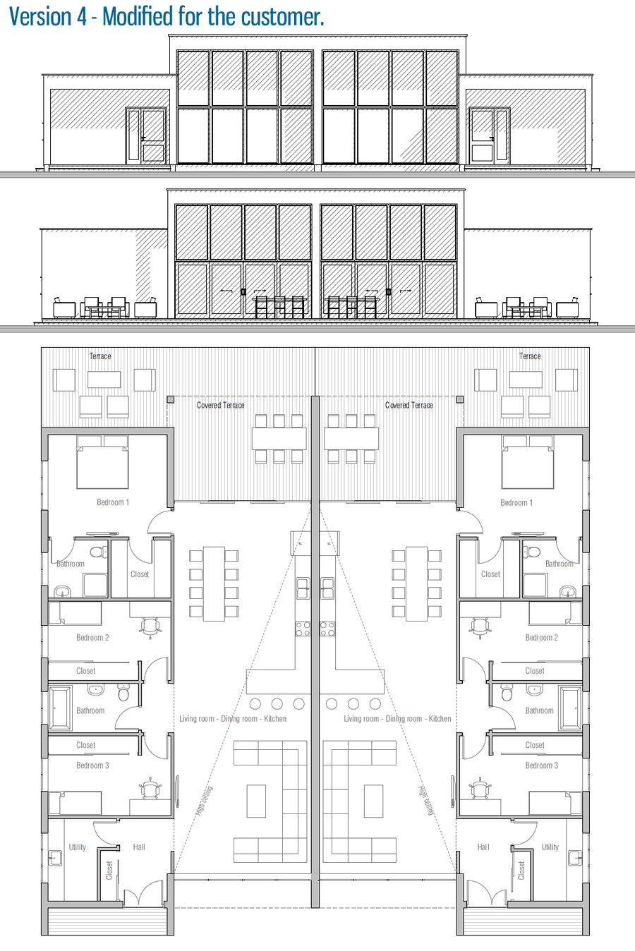 House Design House Plan Ch396d 44 Duplex House Plans Duplex Floor Plans Duplex House