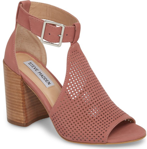 04a5c9c0f33 Steve Madden Sawyer Sandal in Pink. Squared-off perforations add interest  to a T-strap sandal lifted by a stacked woodgrain heel.