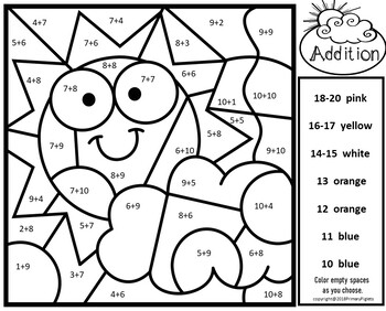 Weather Addition Color By Number Sums 10 20 Weather Theme Subtraction Activities Subtraction